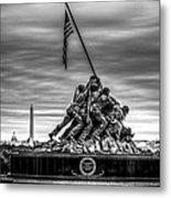 Iwo Jima Monument Black And White Metal Print