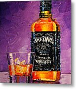 Still Life With Bottle And Glass Metal Print