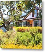 Jack London Countryside Cottage And Garden 5d24570 Metal Print by Wingsdomain Art and Photography