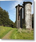 Jack London Ranch Silos 5d22162 Metal Print by Wingsdomain Art and Photography