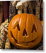 Jack-o-lantern And Indian Corn  Metal Print