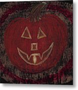 Jack O Lantern Set On A Dark Background With Glowing Flame Metal Print