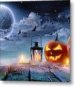 Jack O' Lanterns Glowing At Moonlight Metal Print