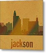 Jackson Mississippi City Skyline Watercolor On Parchment Metal Print