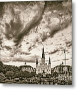 Jackson Square And St. Louis Cathedral In Black And White - New Orleans Louisiana Metal Print