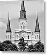 Jackson Square In Black And White Metal Print