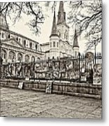 Jackson Square Winter Sepia Metal Print