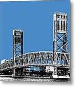 Jacksonville Skyline 2  Main Street Bridge - Slate Blue Metal Print