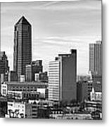 Jacksonville Skyline Morning Day Black And White Bw Panorama Florida Metal Print