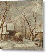 Jacob Cats Dutch, 1741 - 1799, Winter Scene Metal Print