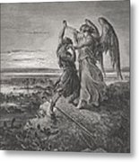 Jacob Wrestling With The Angel Metal Print by Gustave Dore
