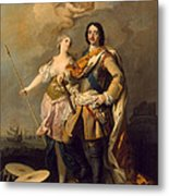 Peter I With Minerva With The Allegorical Figure Of Glory Metal Print