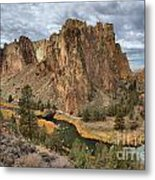 Jagged Peaks And River Reflections Metal Print