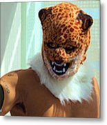 Jaguar Man Mask Metal Print
