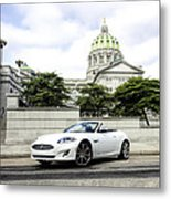 Jaguar Xk And The Capitol Building Metal Print