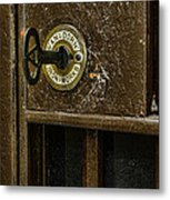 Jail Cell Door Lock  And Key Close Up Metal Print