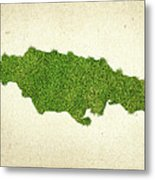 Jamaica Grass Map Metal Print by Aged Pixel