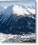Jakobshorn Davos Mountains And Town Switzerland Metal Print