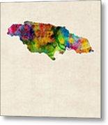 Jamaica Watercolor Map Metal Print