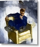 James Dean In Yellow Leather Chair Metal Print