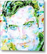 James T. Kirk - Watercolor Portrait Metal Print by Fabrizio Cassetta
