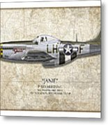 Janie P-51d Mustang - Map Background Metal Print