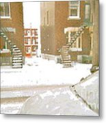 January Winter Street Winding Snow Covered Staircase Montreal Art Verdun Duplex Painting Cspandau Metal Print