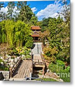 Japan In Pasadena - Beautiful View Of The Newly Renovated Japanese Garden In The Huntington Library. Metal Print