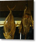 Japanese Fish And Seafood Dried Decoration Metal Print