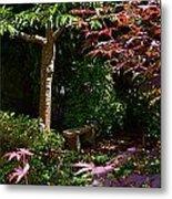 Japanese Garden Bench Metal Print