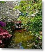 Japanese Garden In Bloom Metal Print