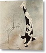 Japanese Koi Utsuri Mono Willow Painting  Metal Print