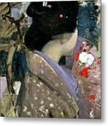 Japanese Lady With A Fan Metal Print