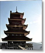 Japanese Pagoda Reading Pa Metal Print