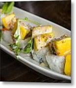 Japanese Sushi Rolls With Mango Metal Print