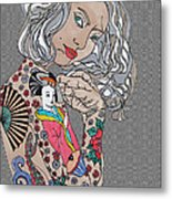 Japanese Tat Girl Grey  Metal Print
