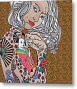 Japanese Tat Girl Leopard Metal Print