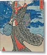 Japanese Woman By The Sea Metal Print