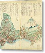 Japanese Wood Block Map Showing Mt Fuji 1830s Metal Print