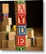Jayden - Alphabet Blocks Metal Print