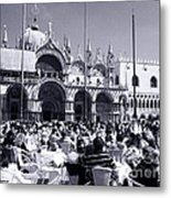 Jazz In Piazza San Marco Black And White  Metal Print
