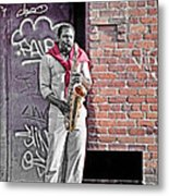 Jazz Man - Street Performer Metal Print