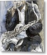 Jazz Saxophonist John Coltrane Yellow Metal Print