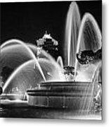J.c. Nichols Memorial Fountain - Night Bw Metal Print