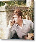 Jean Marais With A Dog Metal Print