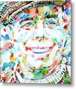 Jean Renoir Watercolor Portrait Metal Print