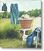 Jeans Hanging On Clothesline On A Summer Afternoon Metal Print