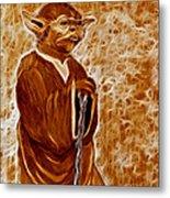 Jedi Master Yoda Digital From Original Coffee Painting Metal Print