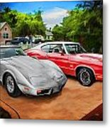 Jeffs Cars Corvette And 442 Olds Metal Print