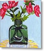 Jeff's Vase And Rodger's Roses Metal Print